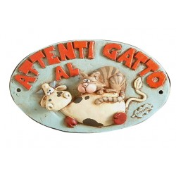 Targhetta Alice Attenti al Gatto