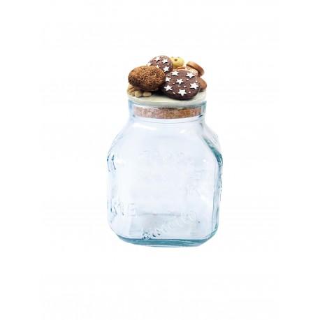 Biscottiera in vetro con decorazione biscotti