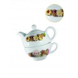 Tea for One,Tazza Tisaniera Fata e Biscotti