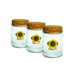 vasi in vetro con tappo in sughero made in italy con girasoli sale