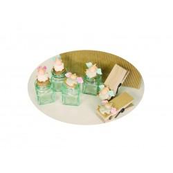 vasetto vetro pecora ali rosa seduta